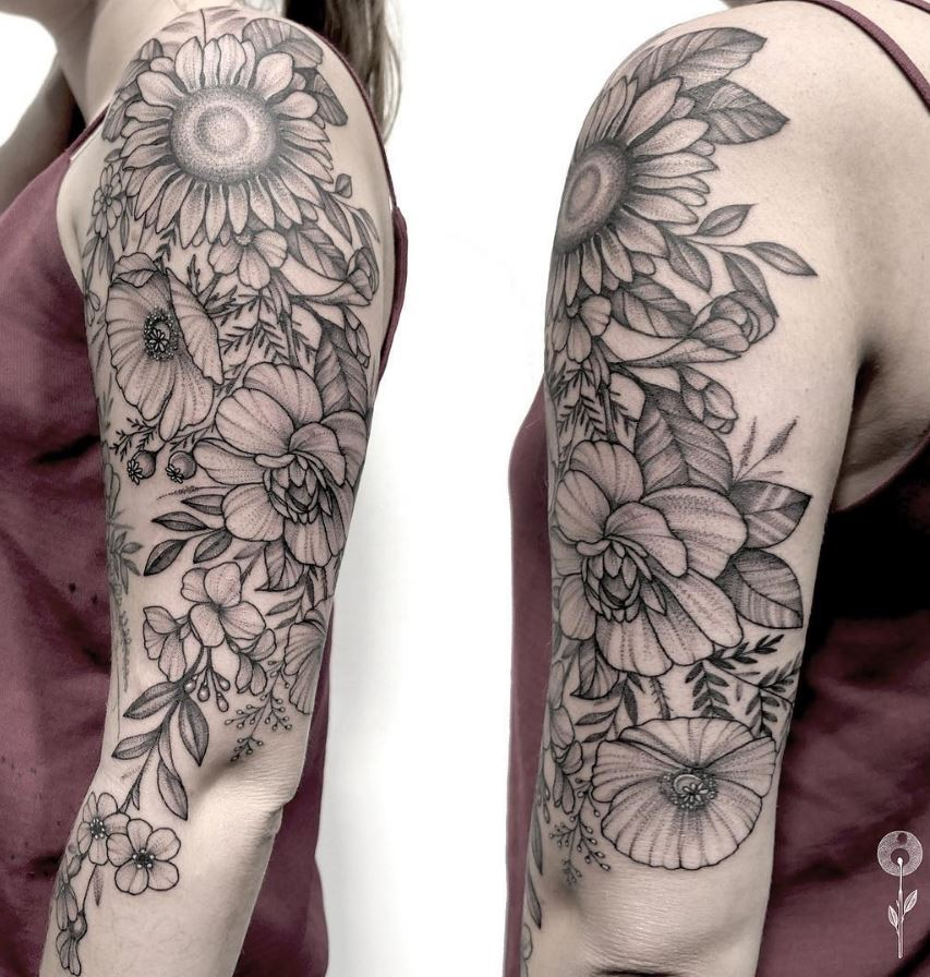 60 Black Gray Flower Tattoos By Anna Bravo List Inspire