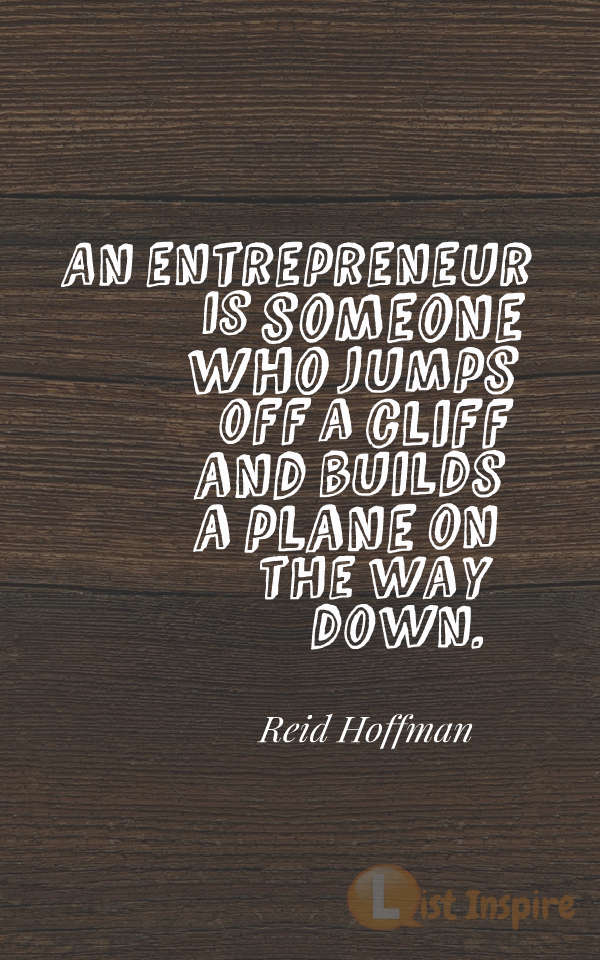 An entrepreneur is someone who jumps off a cliff and builds a plane on the way down. Reid Hoffman
