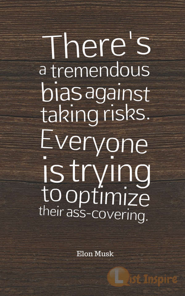 There's a tremendous bias against taking risks. Everyone is trying to optimize their ass-covering. Elon Musk
