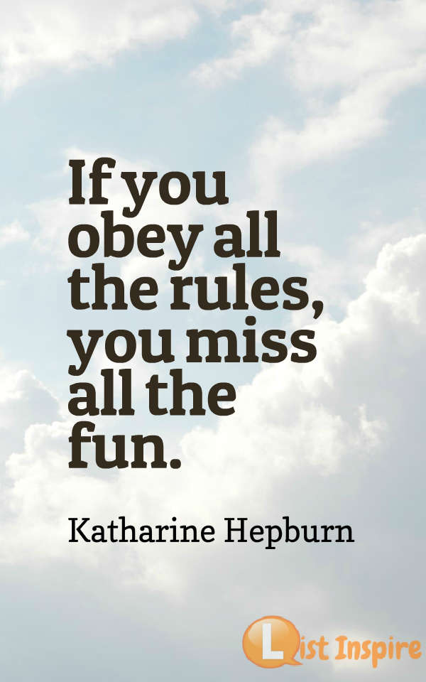 If you obey all the rules, you miss all the fun. Katharine Hepburn